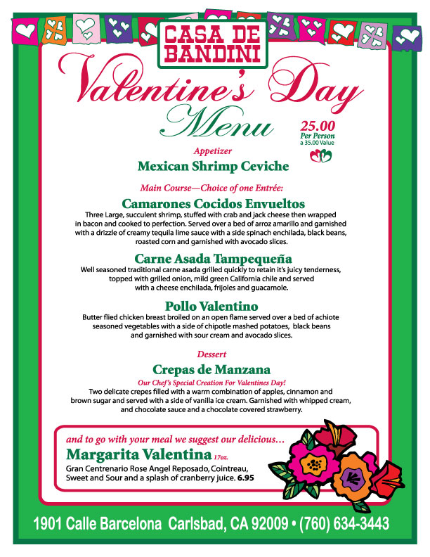 special valentine's day menu available at casa de bandini today, Ideas