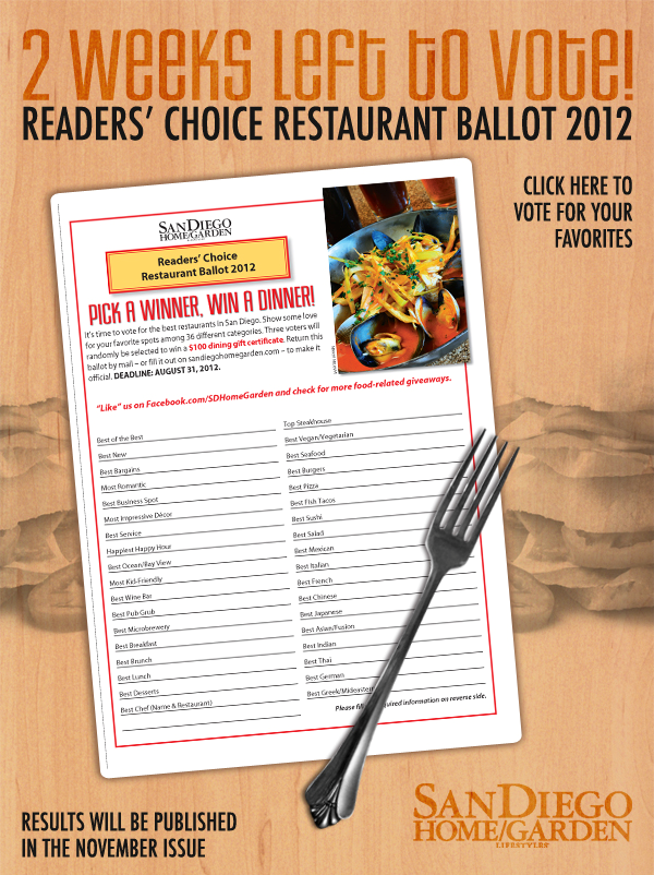 San Diego Home Garden Readers Choice Voting