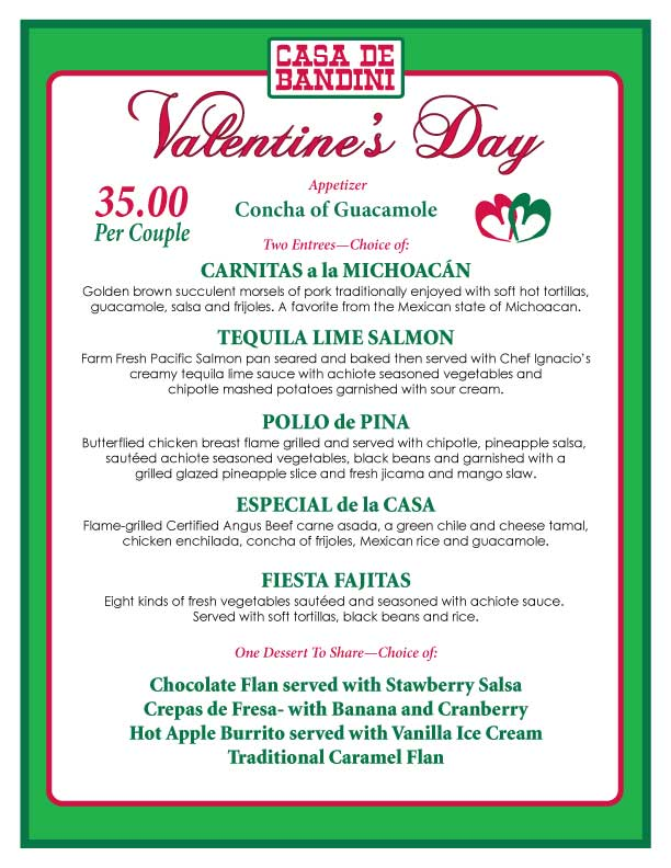 Valentine S Day Menu 2014 The Casa De Bandini Blog
