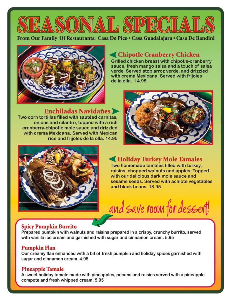 Seasonal Specials at Casa de Bandini