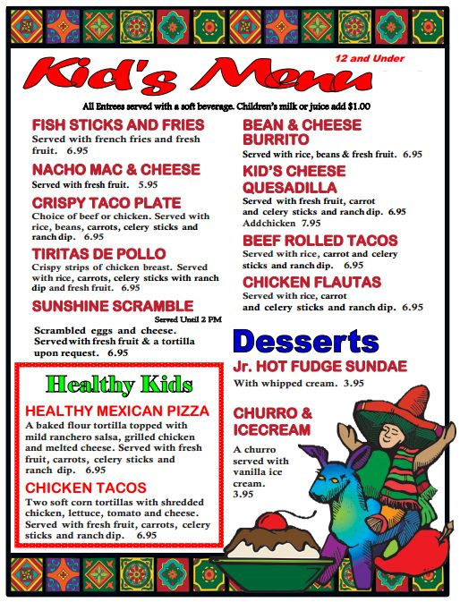 Bandini Kid's Menu