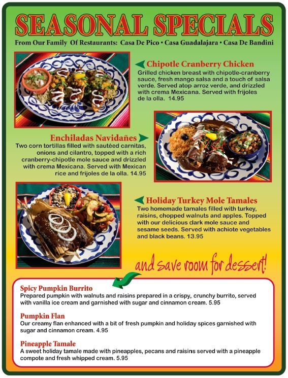 Holiday Menu 2015